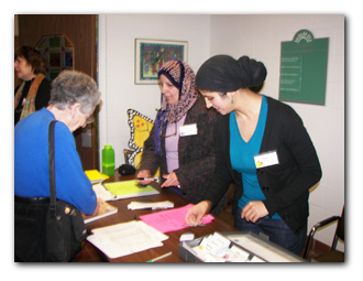 Kafi Amad and Irum Hussein staff the registration table for the monthly meetings. There's always a friendly face to great you at a WTB meeting. Come and bring a friend.
